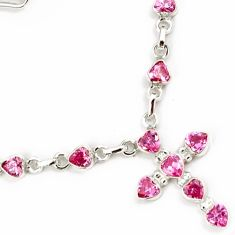 PINK KUNZITE 925 STERLING SILVER HOLY CROSS CHAIN NECKLACE JEWELRY H22722