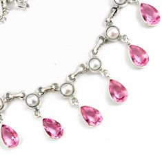 PINK KUNZITE PEAR PEARL 925 STERLING SILVER CHAIN NECKLACE JEWELRY H22717