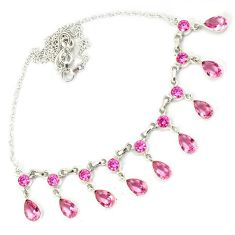 Pink kunzite pear shape 925 sterling silver necklace jewelry h70190