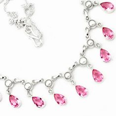 PINK KUNZITE PEAR SHAPE PEARL 925 STERLING SILVER CHAIN NECKLACE JEWELRY H6692