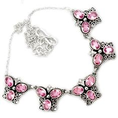 Pink kunzite quartz oval shape 925 sterling silver necklace jewelry h86464