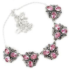 Pink kunzite quartz oval shape 925 sterling silver necklace jewelry h86469