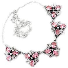 Pink kunzite quartz oval shape 925 sterling silver necklace jewelry h86477