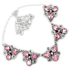Pink kunzite quartz oval shape 925 sterling silver necklace jewelry h86480