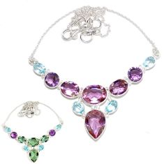 Purple alexandrite (lab) amethyst 925 sterling silver necklace jewelry h89418