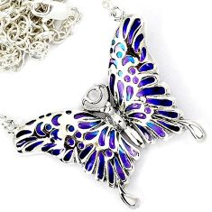 PURPLE BLUE ENAMEL 925 STERLING SILVER BUTTERFLY CHAIN NECKLACE JEWELRY H6594