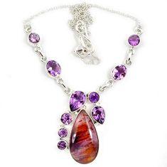 Purple cacoxenite super seven (melody stone) amethyst 925 silver necklace j13347