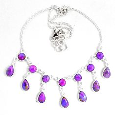 20.27cts purple copper turquoise 925 sterling silver necklace jewelry p40515