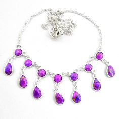 21.04cts purple copper turquoise 925 sterling silver necklace jewelry p44535