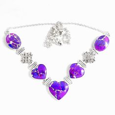 59.09cts purple copper turquoise 925 sterling silver necklace jewelry p47421