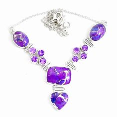 52.56cts purple copper turquoise amethyst 925 sterling silver necklace p47422
