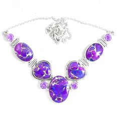 72.51cts purple copper turquoise amethyst 925 sterling silver necklace p47423