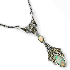 RAINBOW AUSTRALIAN OPAL MARQUISE MARCASITE 925 SILVER CHAIN NECKLACE H20981