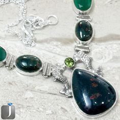 64.51cts RARE NATURAL GREEN BLOODSTONE EMERALD QUARTZ 925 SILVER NECKLACE F40390