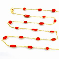 37.13cts red coral 925 silver 14k gold 33inch chain necklace jewelry p91654