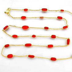 39.26cts red coral 925 silver 14k gold 34inch chain necklace jewelry p91660
