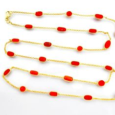 38.45cts red coral 925 silver 14k gold 35inch chain necklace jewelry p91653