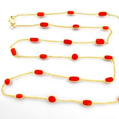 37.74cts red coral 925 silver 14k gold 35inch chain necklace jewelry p91656