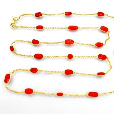 38.30cts red coral 925 silver 14k gold 35inch chain necklace jewelry p91657