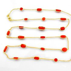 39.26cts red coral 925 silver 14k gold 35inch chain necklace jewelry p91658