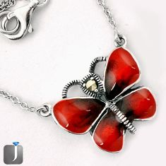 RED ENAMEL BUTTERFLY CHARM MARCASITE 925 SILVER NECKLACE CHAIN JEWELRY G44844