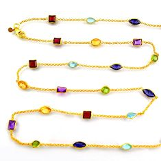 Silver 35.53cts natural iolite amethyst gold 35inch chain necklace p91672