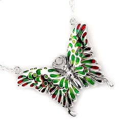 SUPERB MULTI COLOR ENAMEL BUTTERFLY 925 STERLING SILVER CHAIN NECKLACE H20774