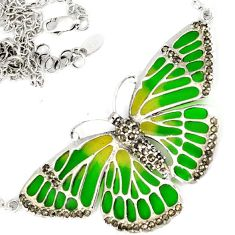 SWISS MARCASITE GREEN YELLOW ENAMEL 925 SILVER BUTTERFLY CHAIN NECKLACE H29959