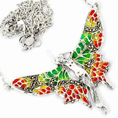 SWISS MARCASITE MULTI COLOR ENAMEL 925 SILVER ANGEL WINGS CHAIN NECKLACE H6586