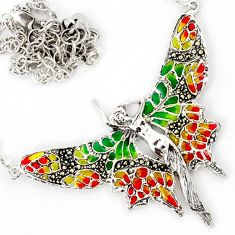 SWISS MARCASITE MULTI COLOR ENAMEL BUTTERFLY 925 SILVER NECKLACE CHAIN H32147