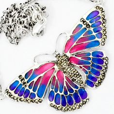 SWISS MARCASITE NATURAL PINK BLUE ENAMEL BUTTERFLY SILVER CHAIN NECKLACE H29952