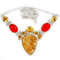 Yellow fossil coral (agatized) petoskey stone citrine 925 silver necklace j13335