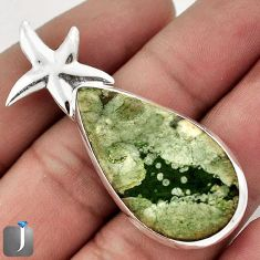 19.10cts GREEN RAINFOREST OPAL 925 STERLING SILVER STAR FISH PENDANT F48282