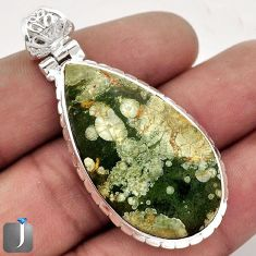 19.35cts NATURAL SUPERB GREEN RAINFOREST OPAL 925 STERLING SILVER PENDANT F48299