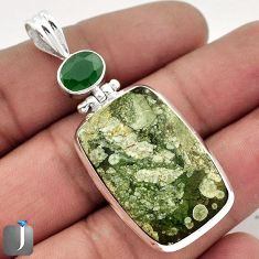 22.88cts NATURAL GREEN RAINFOREST OPAL CHALCEDONY 925 SILVER PENDANT F48283