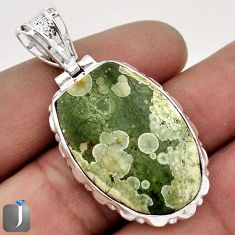 23.69cts NATURAL SUPERB GREEN RAINFOREST OPAL 925 STERLING SILVER PENDANT F48281