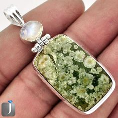 24.28cts NATURAL GREEN RAINFOREST OPAL MOONSTONE 925 SILVER PENDANT F48285