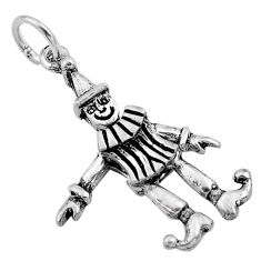 2.27gms 3d moving bali style solid 925 silver joker charm pendant jewelry c4333