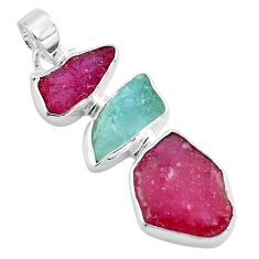 925 silver `15.02cts natural pink ruby rough aquamarine rough pendant p88124