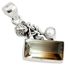 925 silver 9.10cts bio brown smoky topaz pearl cupid angel wings pendant p79510