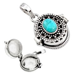 925 silver 2.31cts blue arizona mohave turquoise poison box pendant p92864
