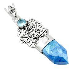 925 silver 12.07cts blue aura quartz (arkansas) topaz seahorse pendant p58860
