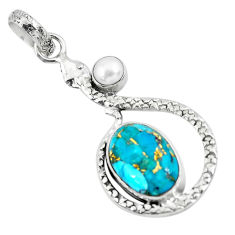 925 silver 6.84cts blue copper turquoise oval white pearl snake pendant p49133