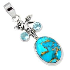 925 silver 13.28cts blue copper turquoise topaz angel wings fairy pendant p56780