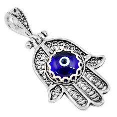 925 silver 3.11cts blue evil eye talismans round hand of god hamsa pendant c2724