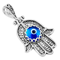 925 silver 2.92cts blue evil eye talismans round hand of god hamsa pendant c2737