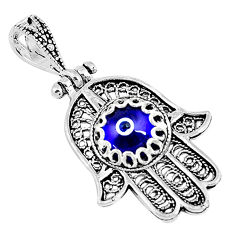 925 silver 3.11cts blue evil eye talismans round hand of god hamsa pendant c2740