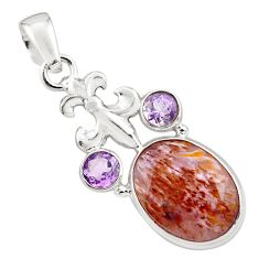 925 silver 12.07cts faceted cacoxenite super seven (melody stone) pendant p77954