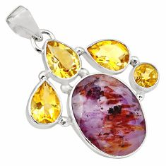925 silver 24.08cts faceted cacoxenite super seven (melody stone) pendant p79743