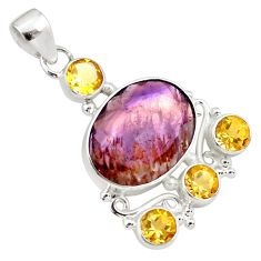925 silver 21.48cts faceted cacoxenite super seven (melody stone) pendant p79756